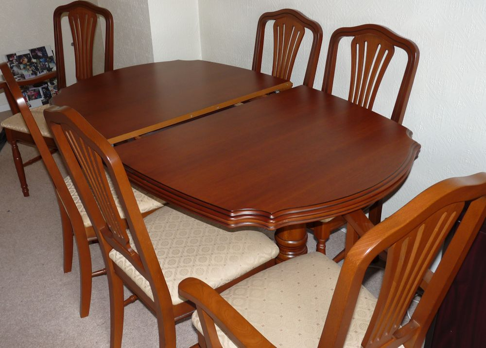 cherry extending dining table 6 chairs excellent condition ebay